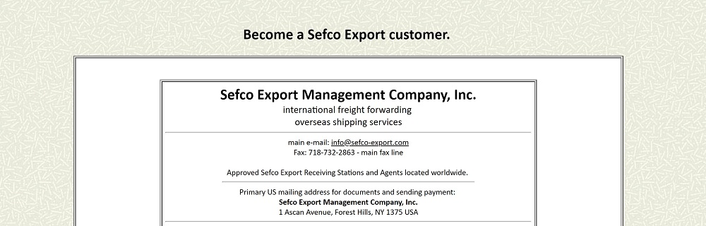Ship to practically anywhere with Sefco Export - Overseas