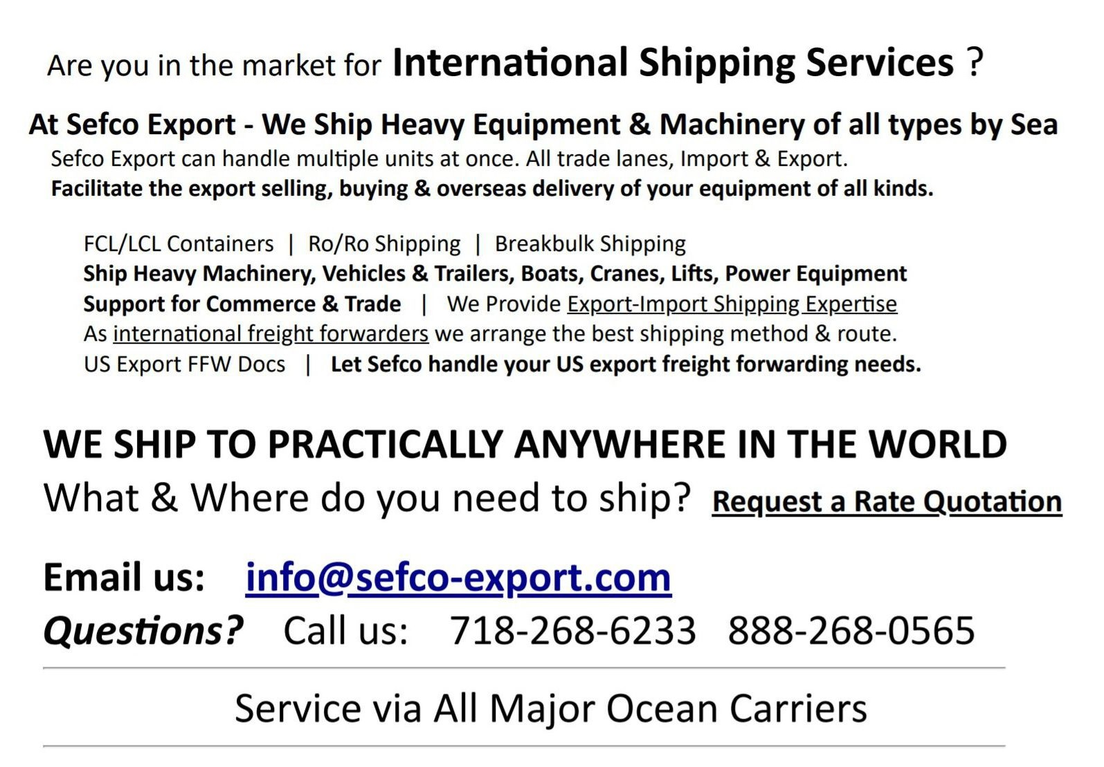 Ship Heavy Equipment Overseas