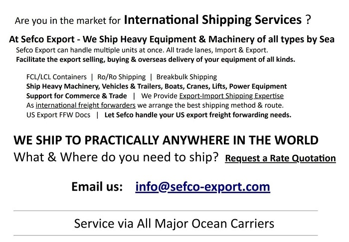 Ship to practically anywhere with Sefco Export - Overseas Shipping